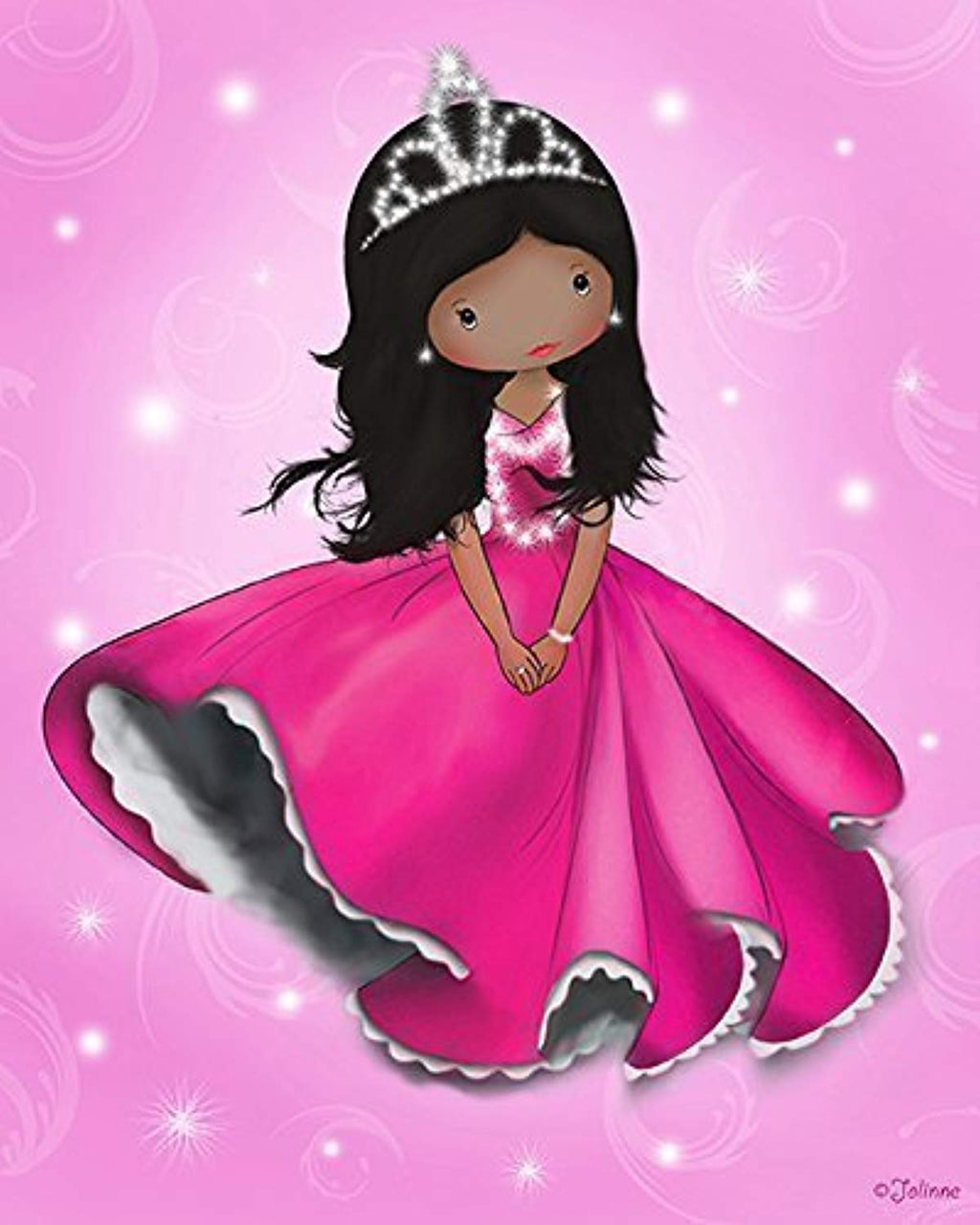 "African American Princess Poster for the Nursery Kids Bedroom Wall Decor Pink Unframed 8""x10"" Art Print Children's Room Dark Skin Black Hair Girl - Ufumbuzi - Home"