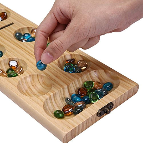 PlayMaty Wood Folding Mancala Board Game Strategy Game African Stone Magnificent Game With Stones And Wooden Board