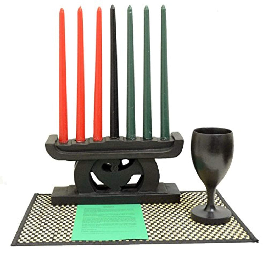 African Heritage Collection Kwanzaa Sankofa Candleholder & Celebration Set (Black) - Made in Ghana