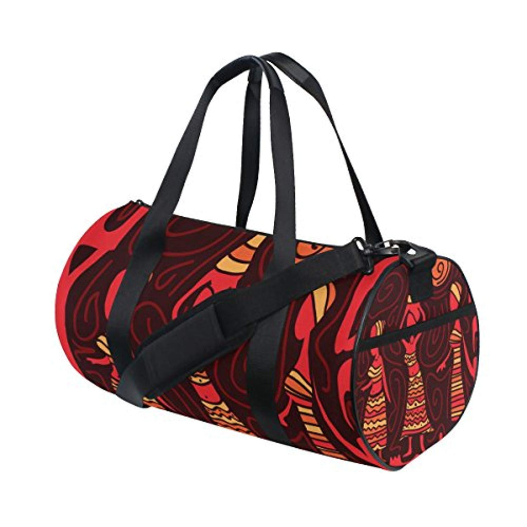 JSTEL Abstract African Art Sports Gym Bag for Women and Men Travel Duffel Bag