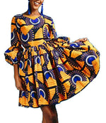 Beloved African Print Dresses for Women,3/4 Sleeve Summer Pleated Swing Cocktail Midi Dresses