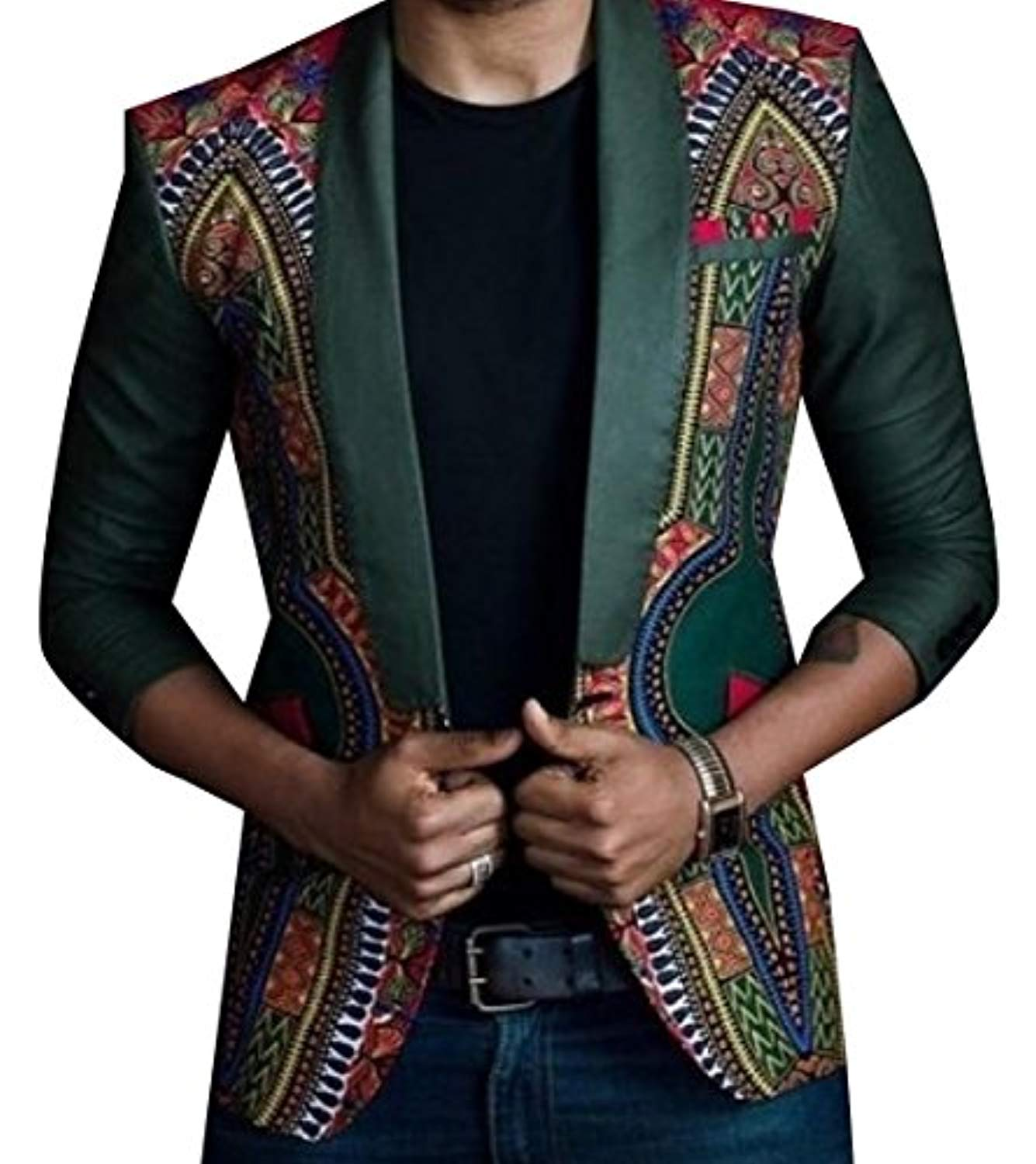 RDHOPE Men's Flower Print Long Sleeve African One Button Blazer Jackets - Ufumbuzi - Home