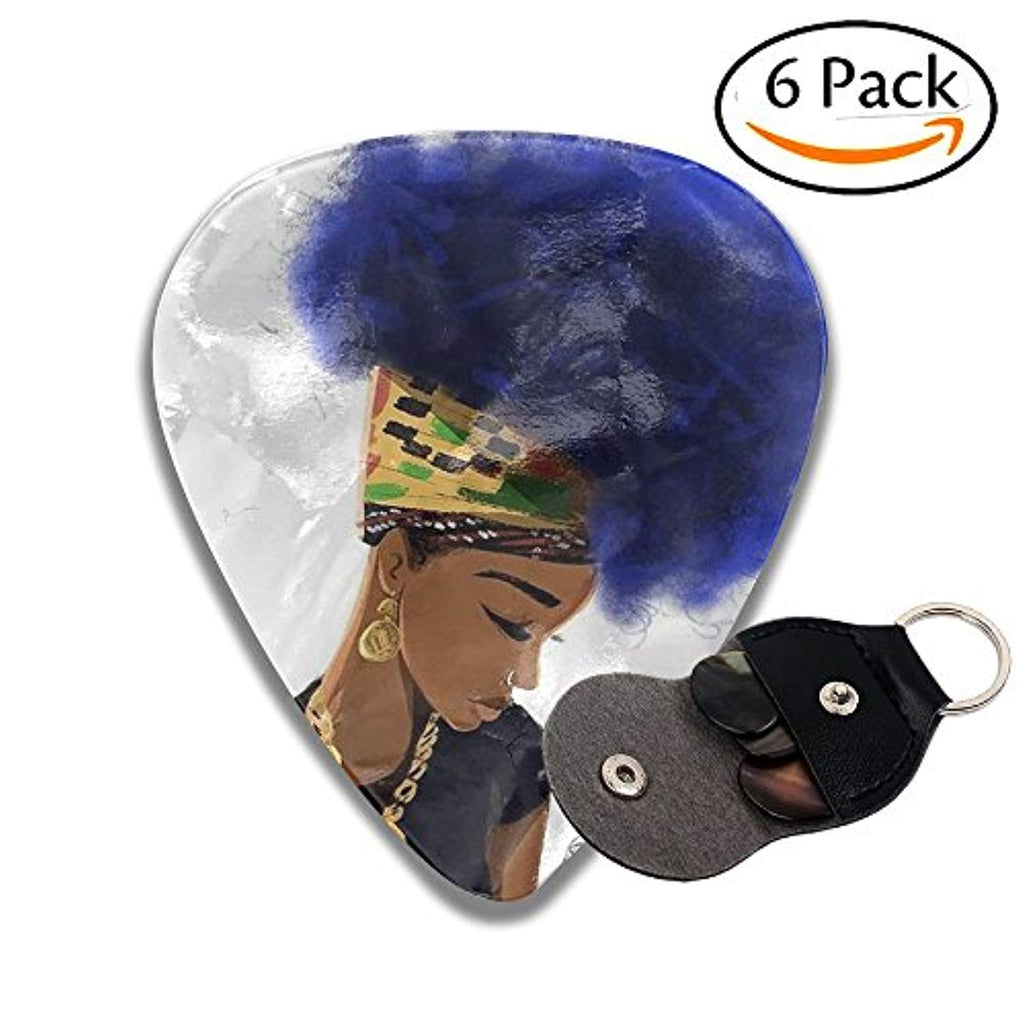 African Black Women With Blue Hair Classical Celluloid Guitar Picks 6 Pack For Electric Guitar, Acoustic Guitar, Mandolin, And Bass