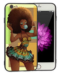 Afro African American Girl iPhone 7 8 Case Afric Women Vintage Beautiful Art iPhone7 iPhone8 Cover Drawing Painting Black Love Design - KITATA - Ufumbuzi - Home