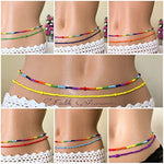 Rainbow Waist Beads, 2 pcs Belly bead, Beaded Body Jewelry, African Waist bead, Waist chain, Stretchy Elastic String, Wear as Necklace Bracelet or Anklet - Ufumbuzi - Home