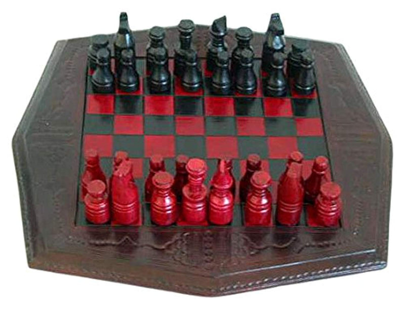 NOVICA Red and Black Wood and Leather Chess Set, African Battle' - Ufumbuzi - Home
