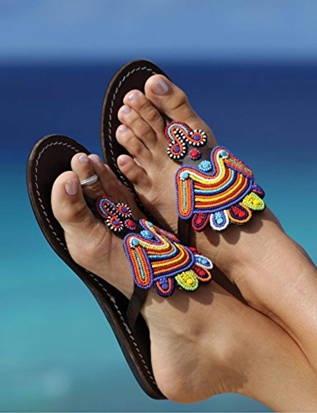 Reef sandy bead sandal shoes for women | Handmade summer beaded reef flip flops for women