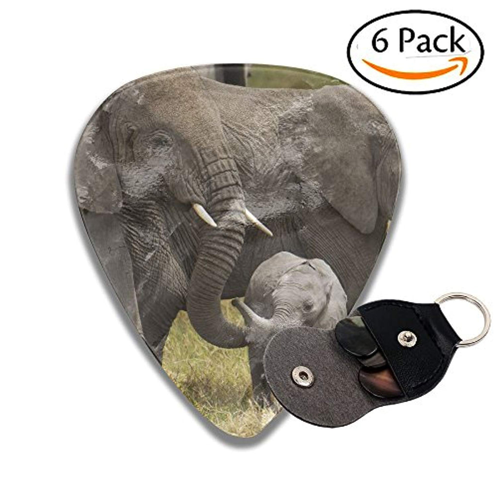 African Elephants Family Guitar Picks Unique 351 Shape Celluloid Guitar Plectrums,6 Packs In Holder Case For Guitar Bass