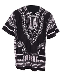 Dupsie's Black Traditional African Print Unisex Dashiki Shirt Small to 7XL Plus Size - Ufumbuzi - Home