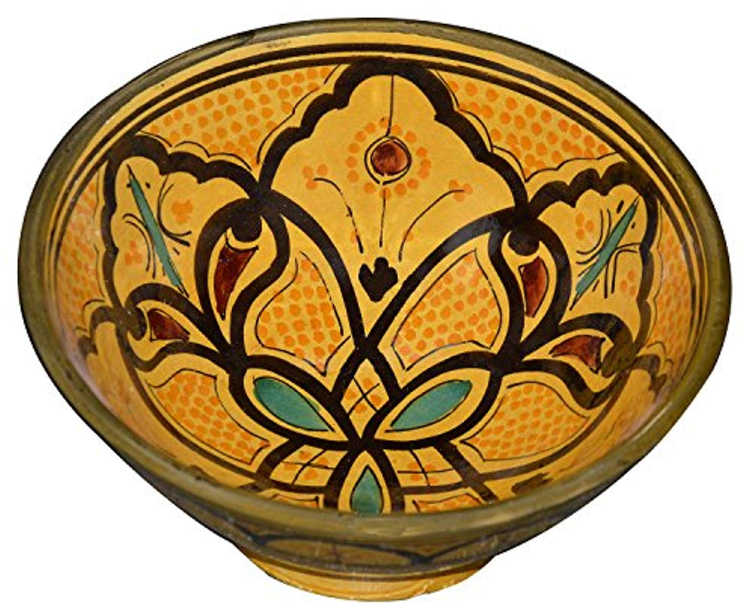 Ceramic Bowls Moroccan Handmade Serving Exquisite Piece With Vivid Colors 8 inches Across - Ufumbuzi - Home