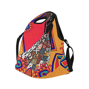 InterestPrint Neoprene Lunch Bag African Woman Lunch Handbag Large