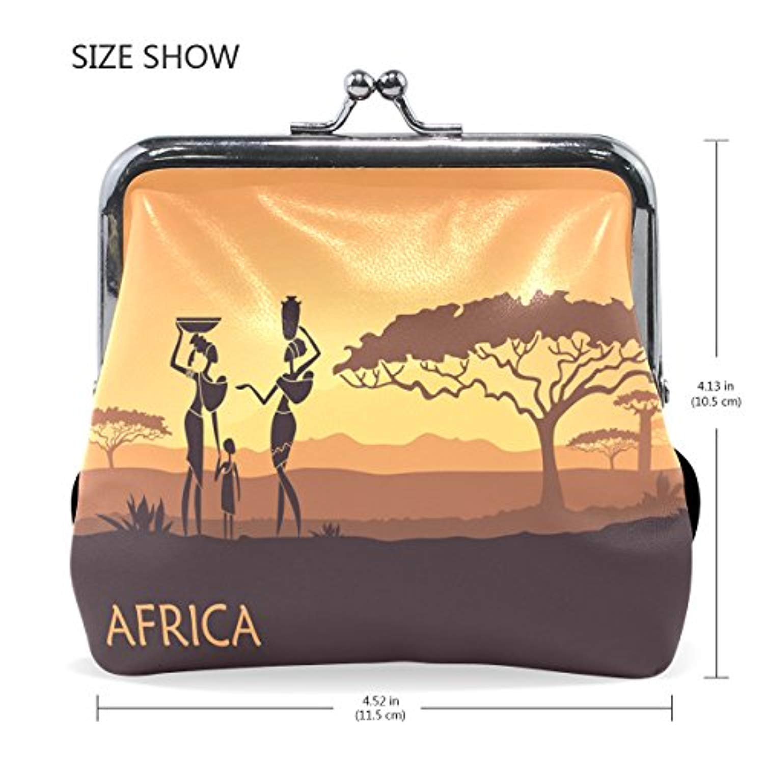 Leather Coin Purse Clutch Pouch Handbag with African Sunset Landscape Wallet for Women Girls Students - Ufumbuzi - Home
