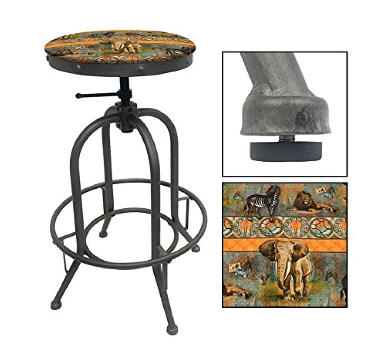 "1 - Adjustable 26""- 30"" Tall Rustic Metal Swivel Seat Bar Stool Featuring Your Choice of a Novelty Themed Seat Cushion (African Safari)"