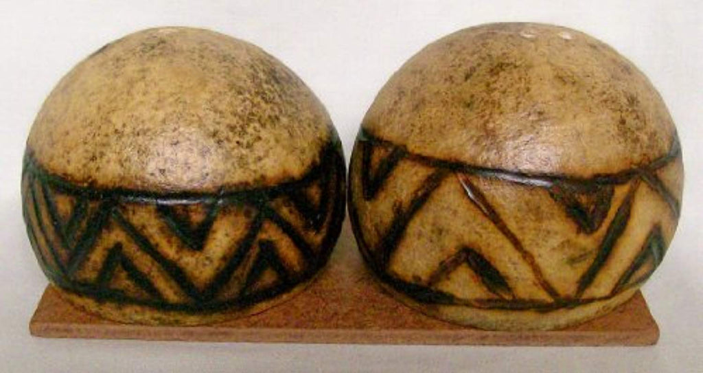 Authentic African Art Ethnic Pattern (Dark) Monkey Apple Salt & Pepper Shakers
