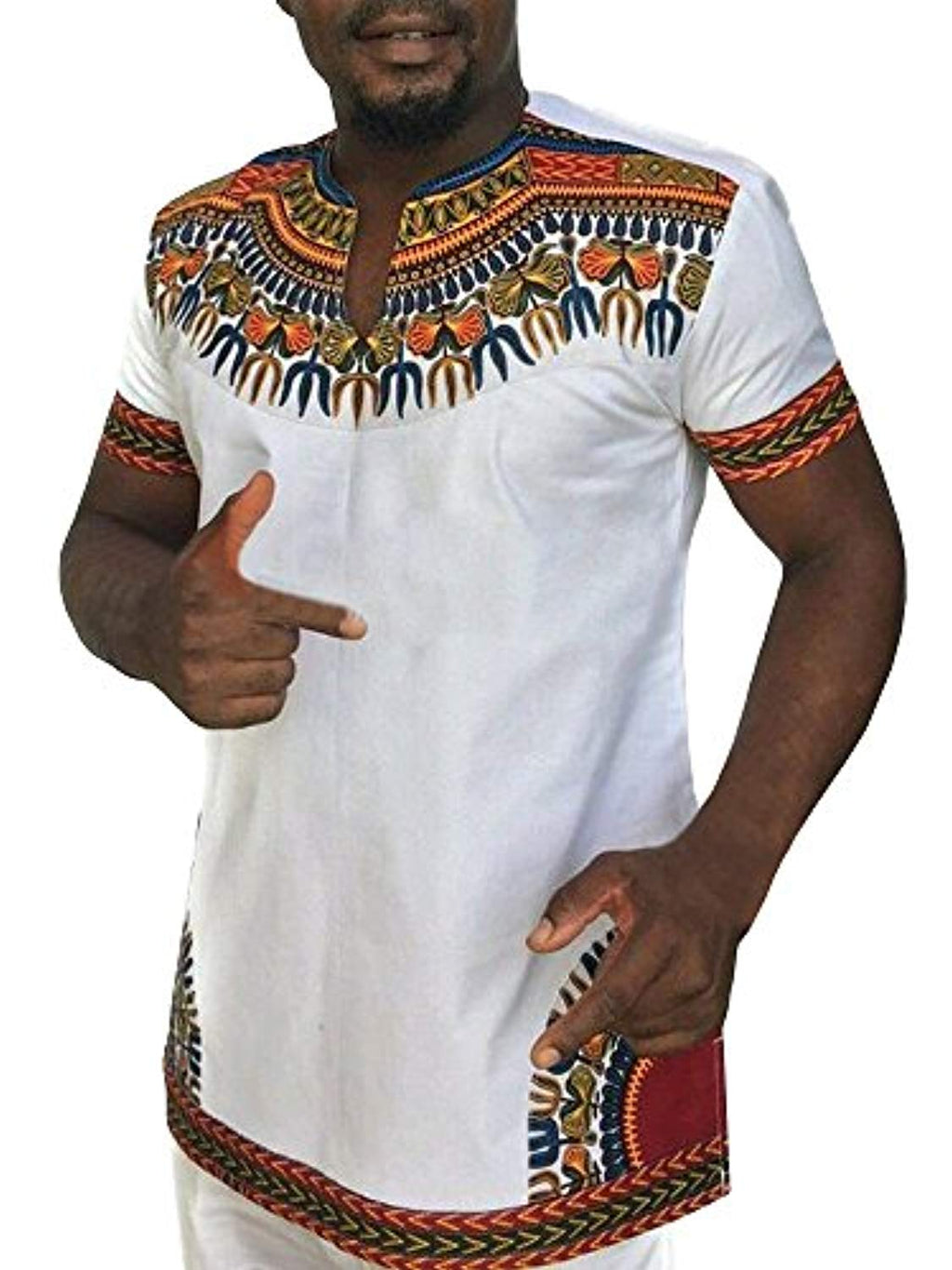 Gtealife Men's African Print Dashiki T-Shirt Tops Blouse - Ufumbuzi - Home