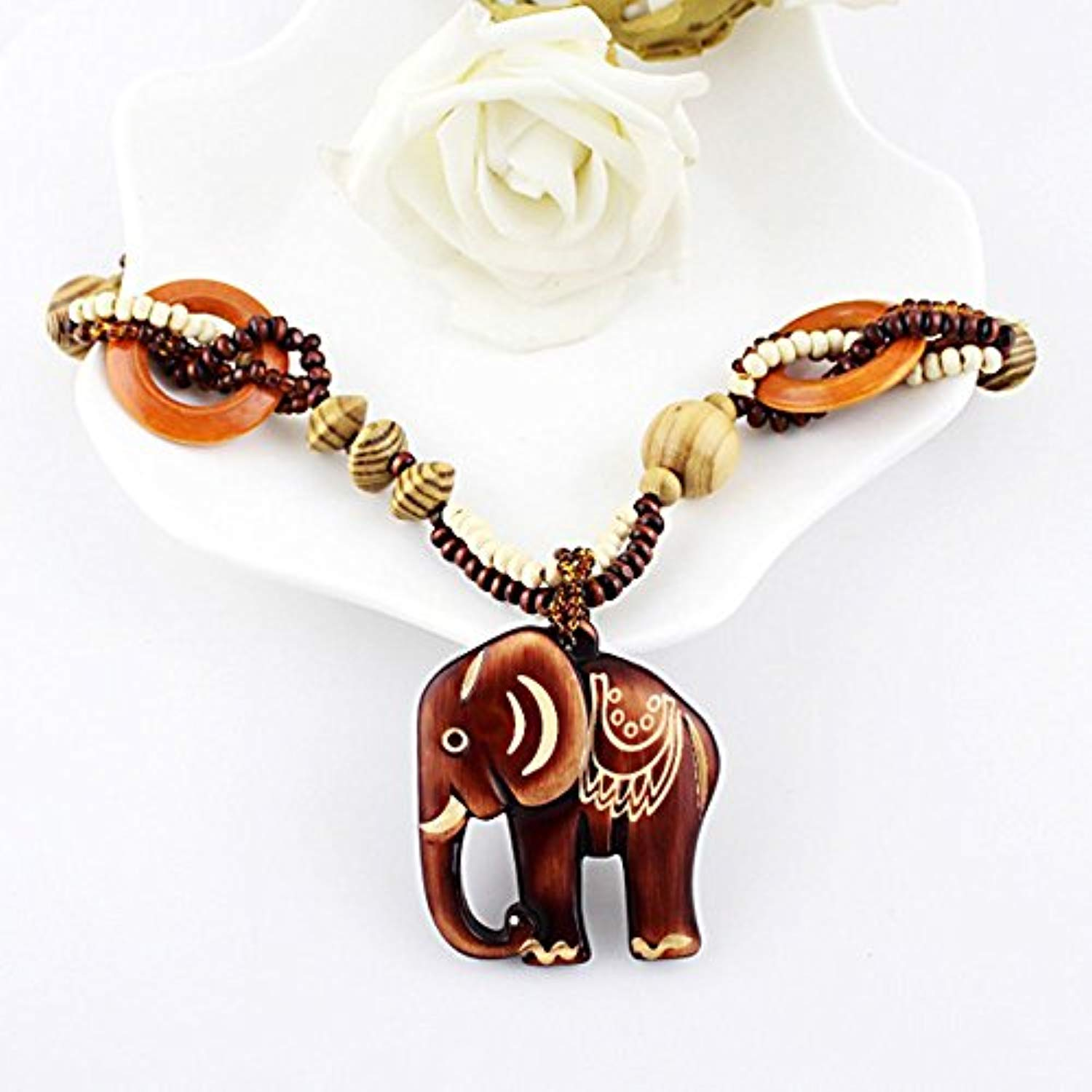 African Elephant Excellent Exotic Jewelry Ethnic Long Hand Made Bead Wood Elephant Pendant-Dexterity