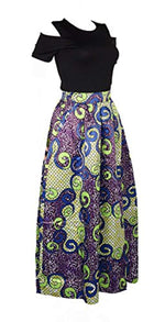 Playworld Women's Cold Shoulder Two Piece Floral Print Pockets Long Party Skirts Dress - Ufumbuzi - Home