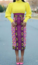 JOYCHEER Womens Skirts African Print High Waisted Skirt Dashiki Pencil Summer Midi Dresses - Ufumbuzi - Home