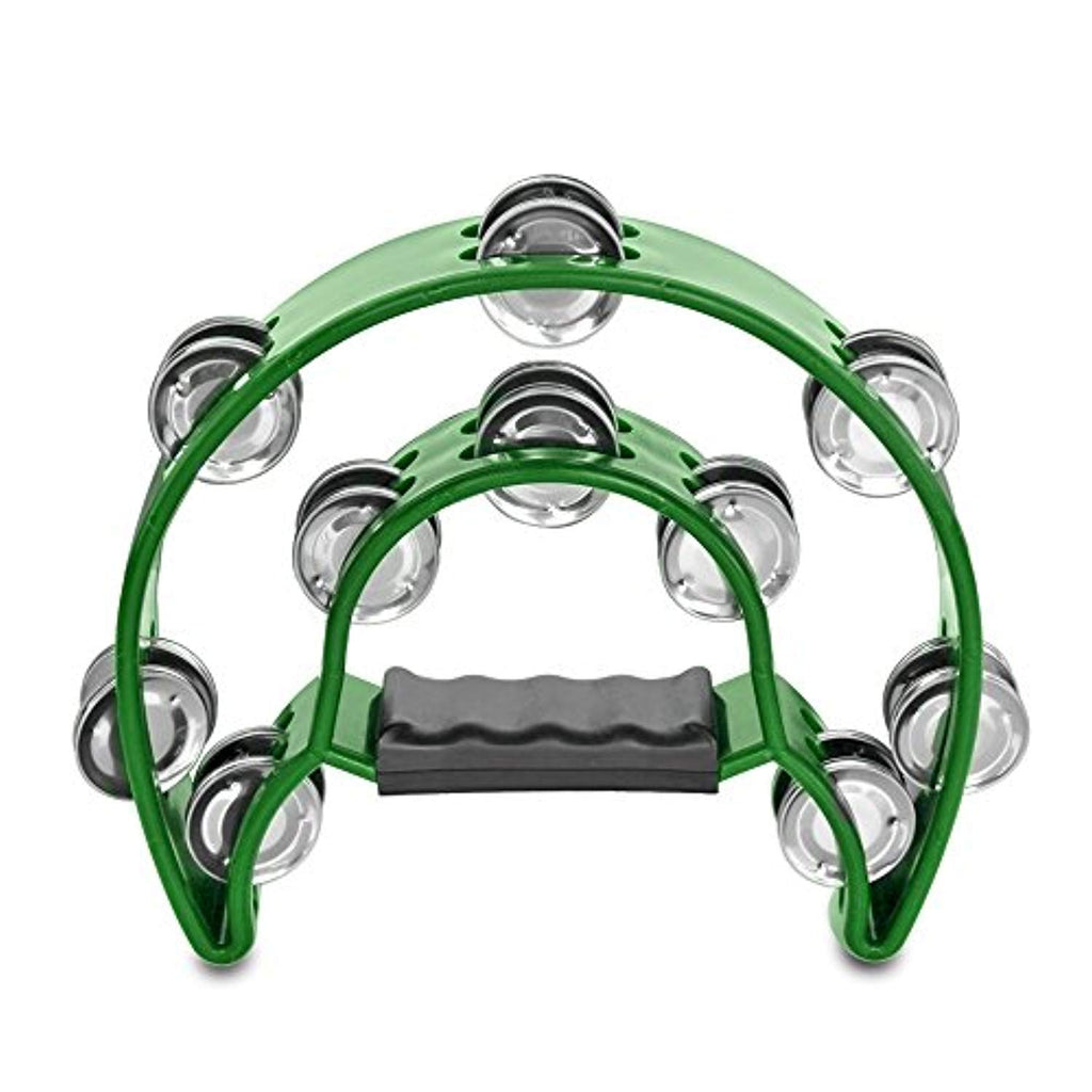 Flexzion Half Moon Musical Tambourine (Green) Double Row Metal Jingles Hand Held Percussion Drum for Gift KTV Party Kids Toy with Ergonomic Handle Grip