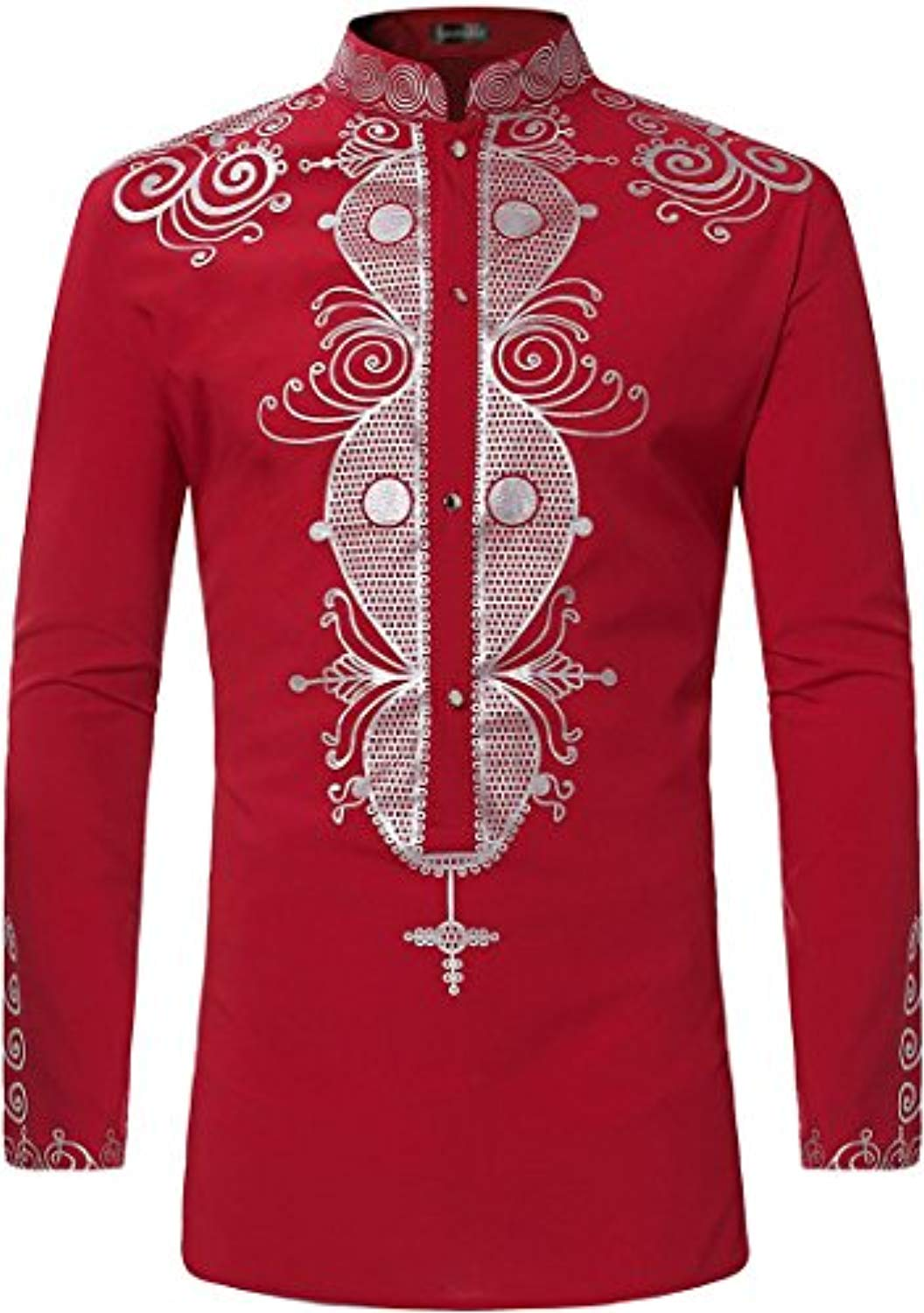 Sportides Men's Casual African Style Printing Long Sleeve Button Down Dress Shirts Tops JZA384 - Ufumbuzi - Home