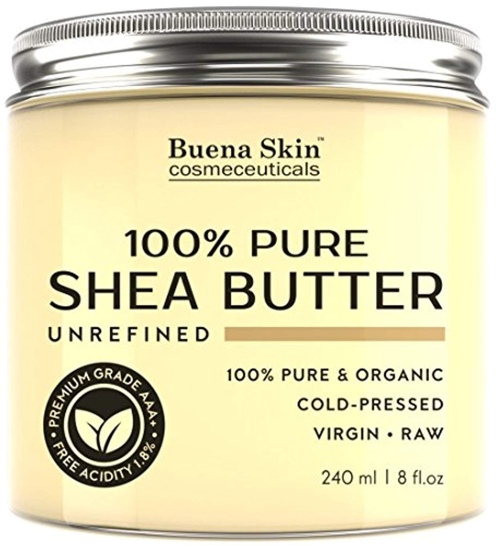 PURE Shea Butter - Raw African Organic Grade A Ivory Unrefined, Cold-Pressed - Great To Use Alone or DIY Body Butters, Lotions, Soaps, Eczema &...
