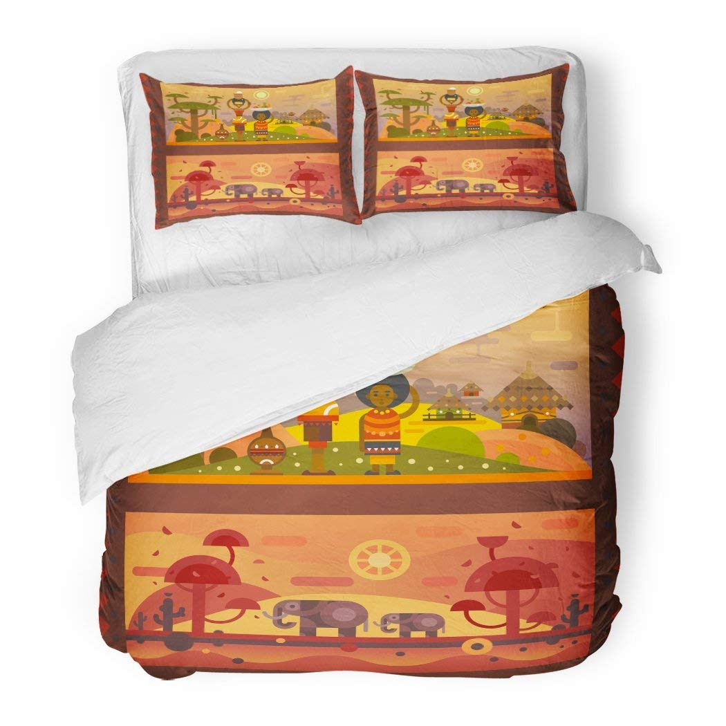 SanChic Duvet Cover Set African Everyday Woman with Bowl on Head Boy Fruit in Plate National Houses Native Animals Flat Decorative Bedding Set with Pillow Sham Twin Size