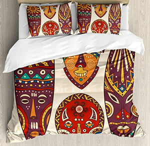 Ambesonne Tiki Bar Decor Duvet Cover Set Queen Size, Decorative Mask Designs African Aborigine Art Patterns Cultural Ethnic Print, Decorative 3 Piece Bedding Set with 2 Pillow Shams, Multicolor