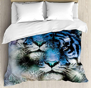 YOKOU Animal Duvet Cover Set 4 Piece Microfiber Comforter Quilt Bed Bedding Covers with Zipper, Ties - Two Tiger Safari Cat African Wild Furious Life Big Animals Artwork Print Blue Black and White