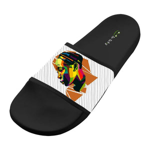 AFRICA. Wide Upper Soft Slip-On Slide Slippers Beach Flat Slide Sandal for Men Womens