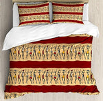 African Woman 4 Pcs Bedding Set King Size, Native Indigenous People Different Poses Tribal Ancient Culture Borders All Season Duvet Cover Bed Set, Ruby Peach Black