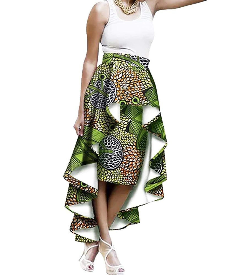 Sherrylily Womens Plus Size African Print Ruffles High Low Hem A Line Maxi Skirts Dresses - Ufumbuzi - Home