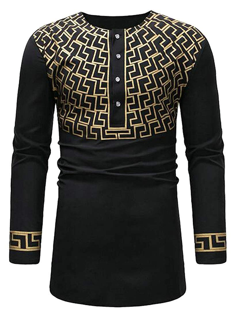MOUTEN Mens African Print Longline Long Sleeve Plus Size Dress Work Shirt Tops - Ufumbuzi - Home