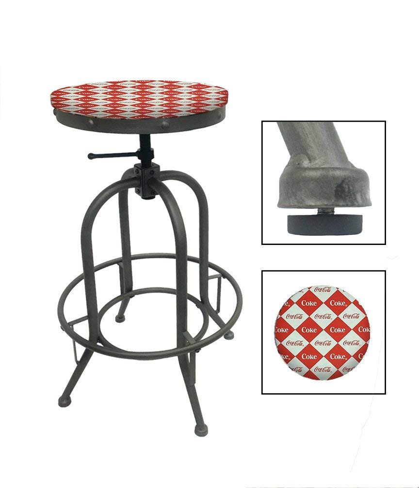 "1 - Adjustable 26""- 30"" Tall Rustic Metal Swivel Seat Bar Stool Featuring Your Choice of a Novelty Themed Seat Cushion (African Safari) - Ufumbuzi - Home"