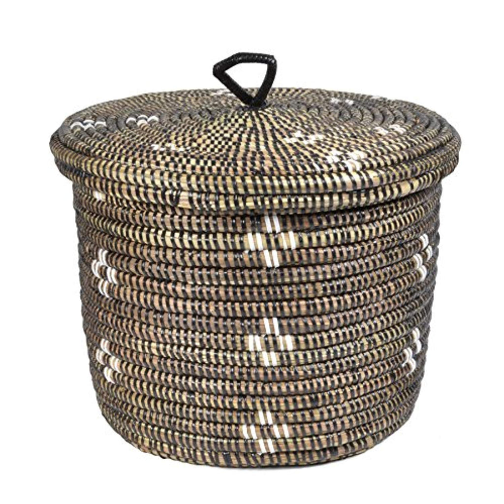 African Fair Trade Flowers Hand Woven Lidded Basket, Black/White - Ufumbuzi - Home