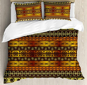 Ambesonne Primitive Duvet Cover Set Queen Size, Indigenous Geometric Motifs with Ethnic Ornament Traditional Tribal Figures, Decorative 3 Piece Bedding Set with 2 Pillow Shams, Brown Yellow