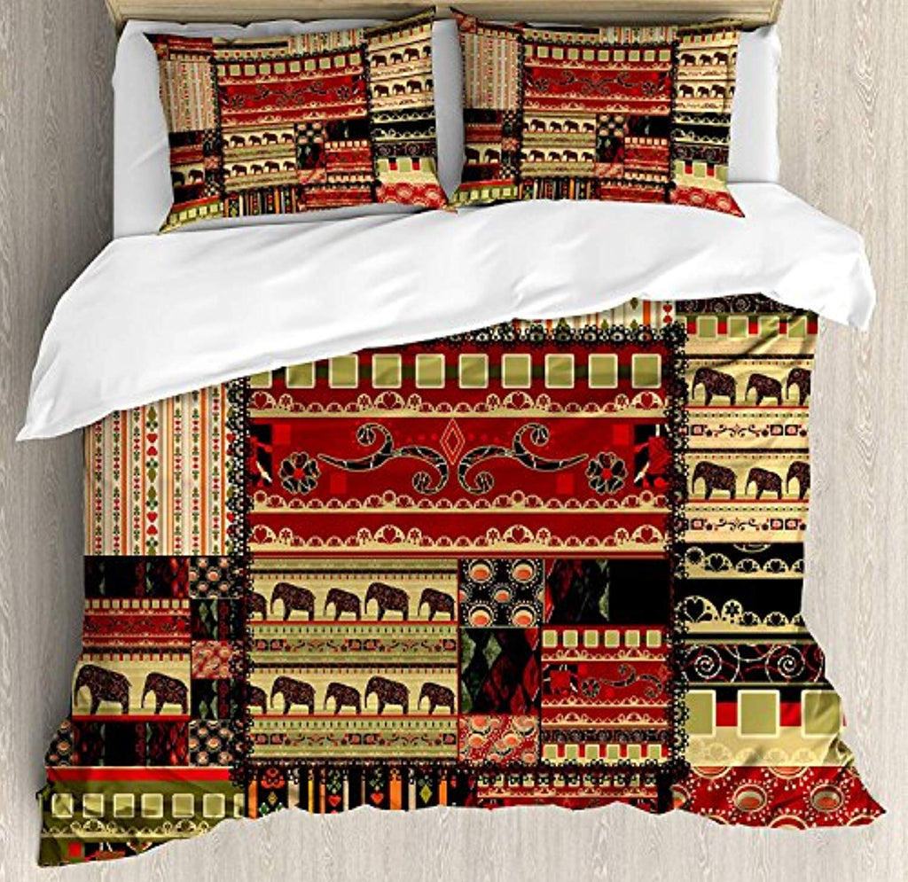 African Duvet Cover Set Queen Size, Patchwork Style Asian Pattern with Elephants and Cultural Ancient Motifs Print, Decorative 4pcs Bedding Set, Red Green Black - Ufumbuzi - Home