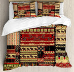 African Duvet Cover Set Queen Size, Patchwork Style Asian Pattern with Elephants and Cultural Ancient Motifs Print, Decorative 4pcs Bedding Set, Red Green Black