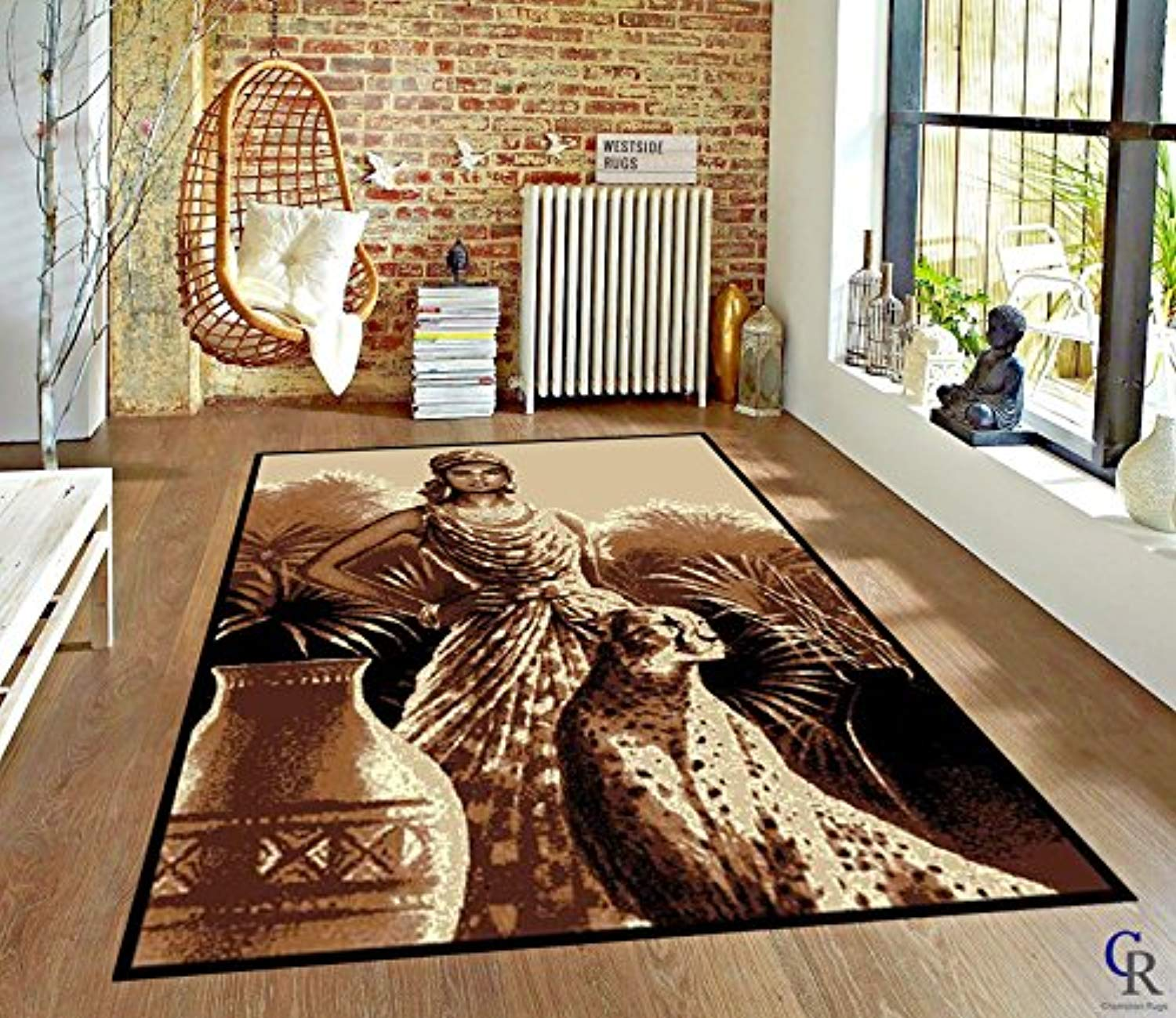 "Lady and Leopard African Theme Area Rug (5' 3"" X 7' 5"")"