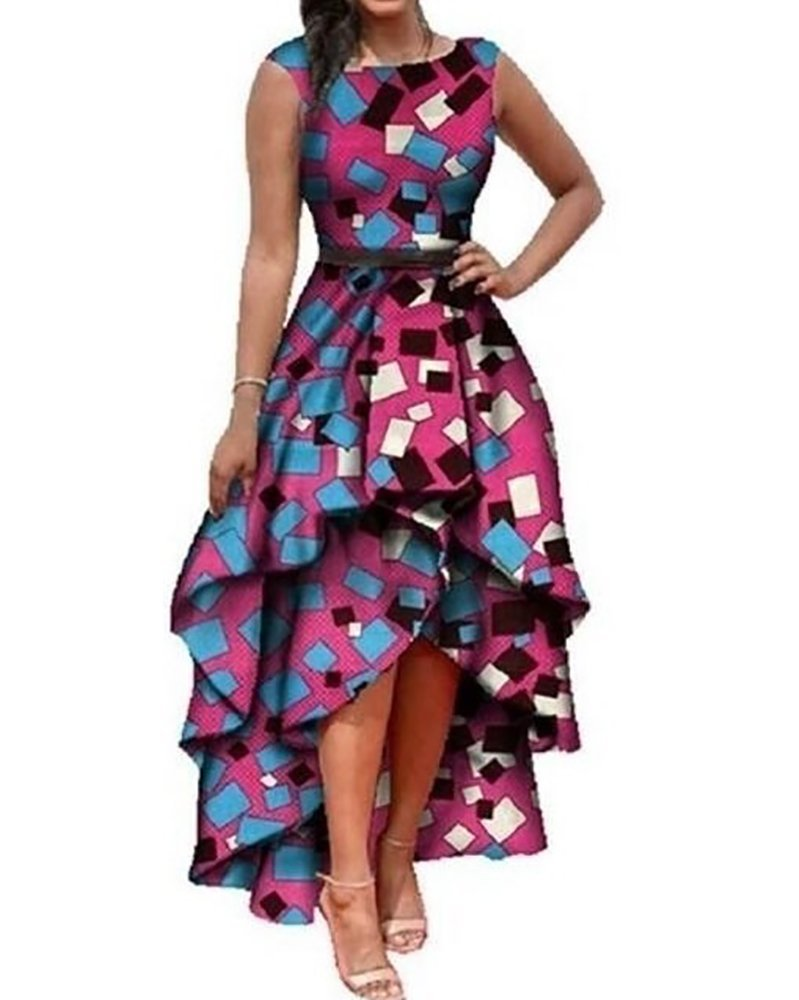 Runcati Womens African Dress Formal Prom Dashiki Print Sleeveless Peplum Fit and Flare Midi High Low Dress - Ufumbuzi - Home