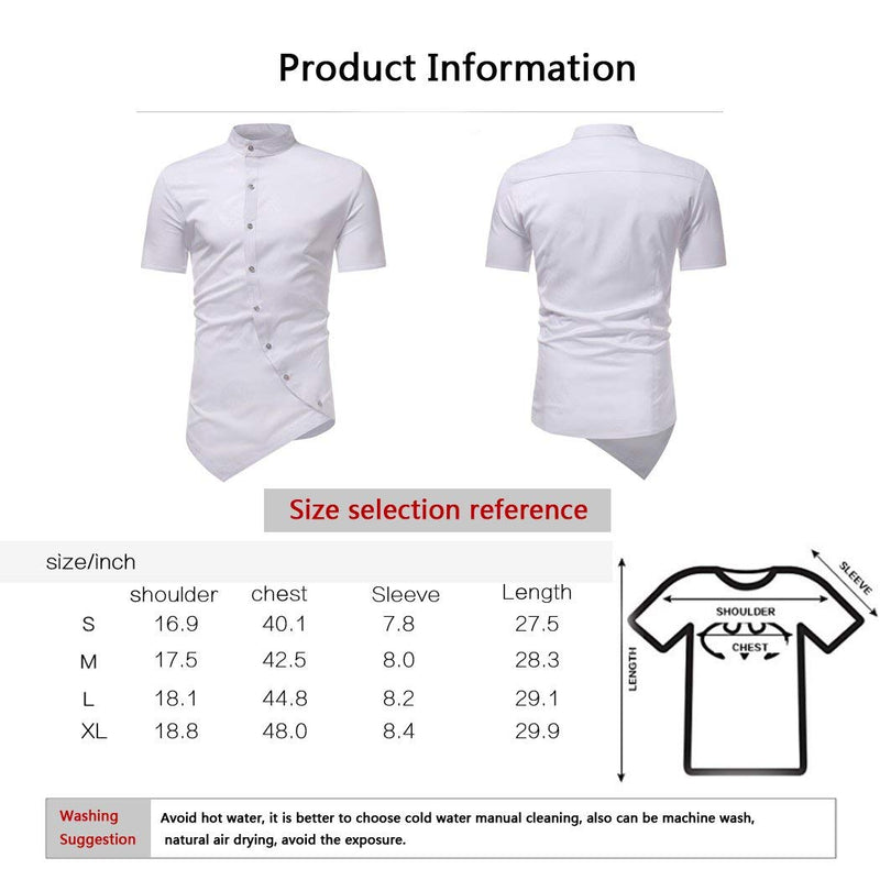 HOP Men's Casual Irregular Hem Slim Fit Button Down Dress Shirt - Ufumbuzi - Home