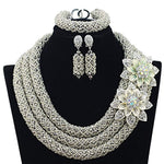 3 Rows Handmade Nigerian African Crystal Beads Jewelry Set Costume Bridal Necklace