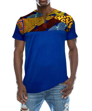 Shele Men's Fashion Short Sleeve African Print Dashiki T-Shirt Tops(Choose One Size up) - Ufumbuzi - Home