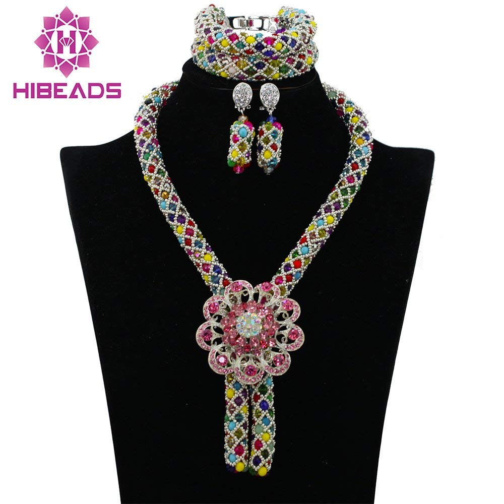 Gold Costume Jewelry Set Nigerian Wedding African Beads Set Crystal Braid Pendant Necklace Set