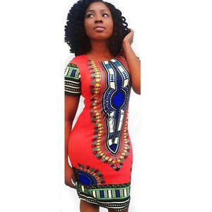 FORUU Short Sleeves Womens Girls Traditional African Print Dashiki Bodycon Dress