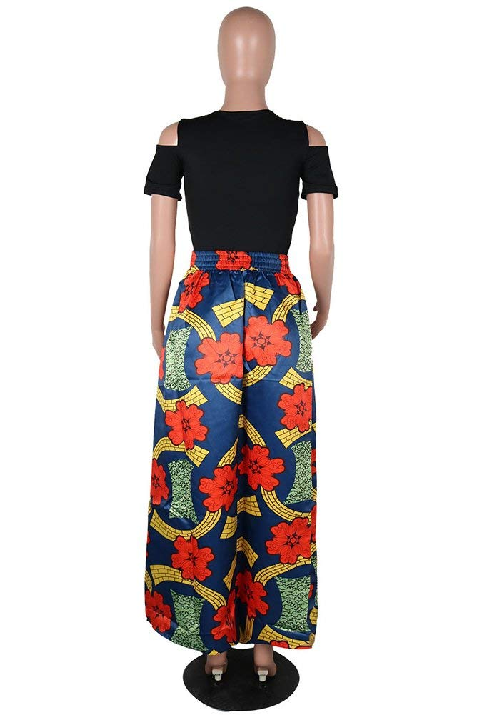 Aro Lora Women's 2 Piece Floral African Print Cold Shoulder Top + A Line Skirt Long Maxi Dress with Pockets