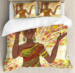 African Woman 4 Pcs Bedding Set Twin Size, Dancing Woman Hand Drawing Ethnic Geometric Ornament Colorful Print All Season Duvet Cover Bed Set, Green Red Yellow