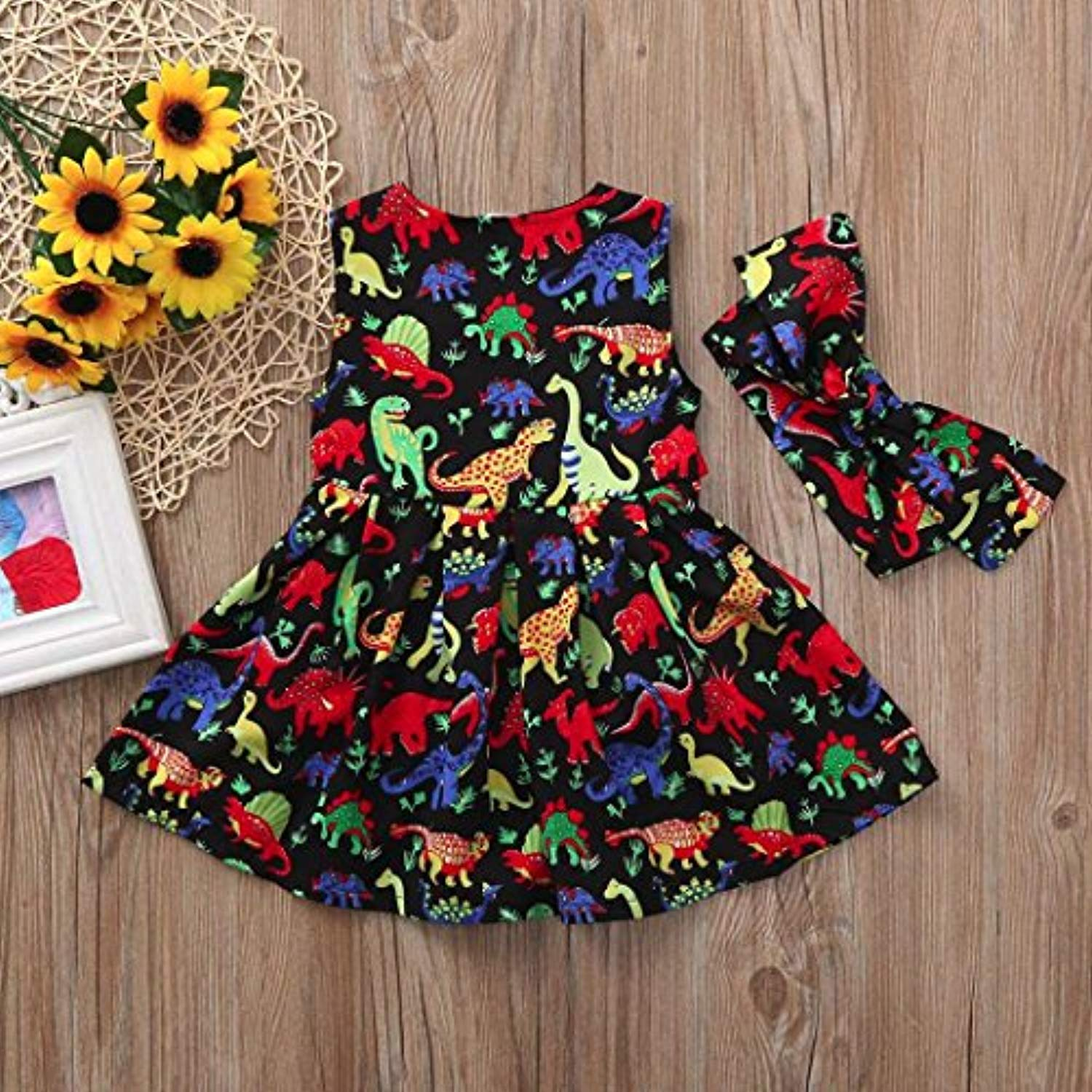 DORIC Toddler Baby Girls Cartoon Dinosaur Sleeveless Dress+Headband Clothes Outfits - Ufumbuzi - Home