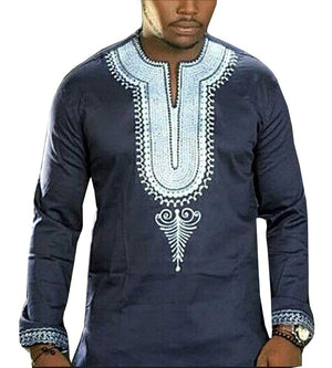 Makkrom Men's Long Sleeve Tribal Dashiki Floral Top Blouse - Ufumbuzi - Home
