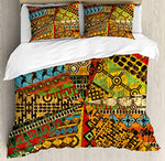 Ambesonne African Duvet Cover Set King Size, Grunge Collage with Ethnic Motifs Tribal Ancient Traditional Art Ornate Geometric, Decorative 3 Piece Bedding Set with 2 Pillow Shams, Multicolor