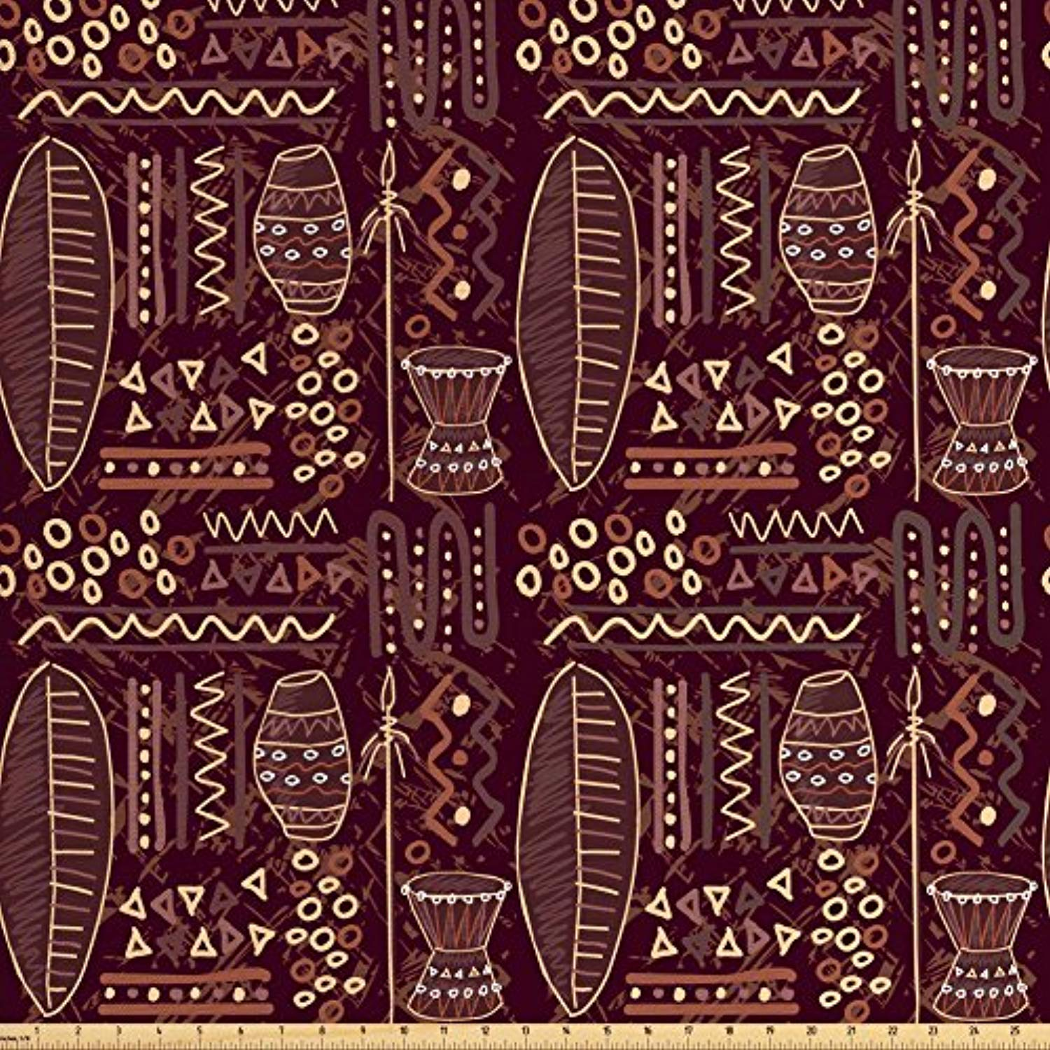 Ambesonne Brown Fabric by the Yard, African Ethnic Tribal Image with Geometrical Shapes Artwork Print, Decorative Fabric for Upholstery and Home Accents, Dark Brown Cocoa and Cream